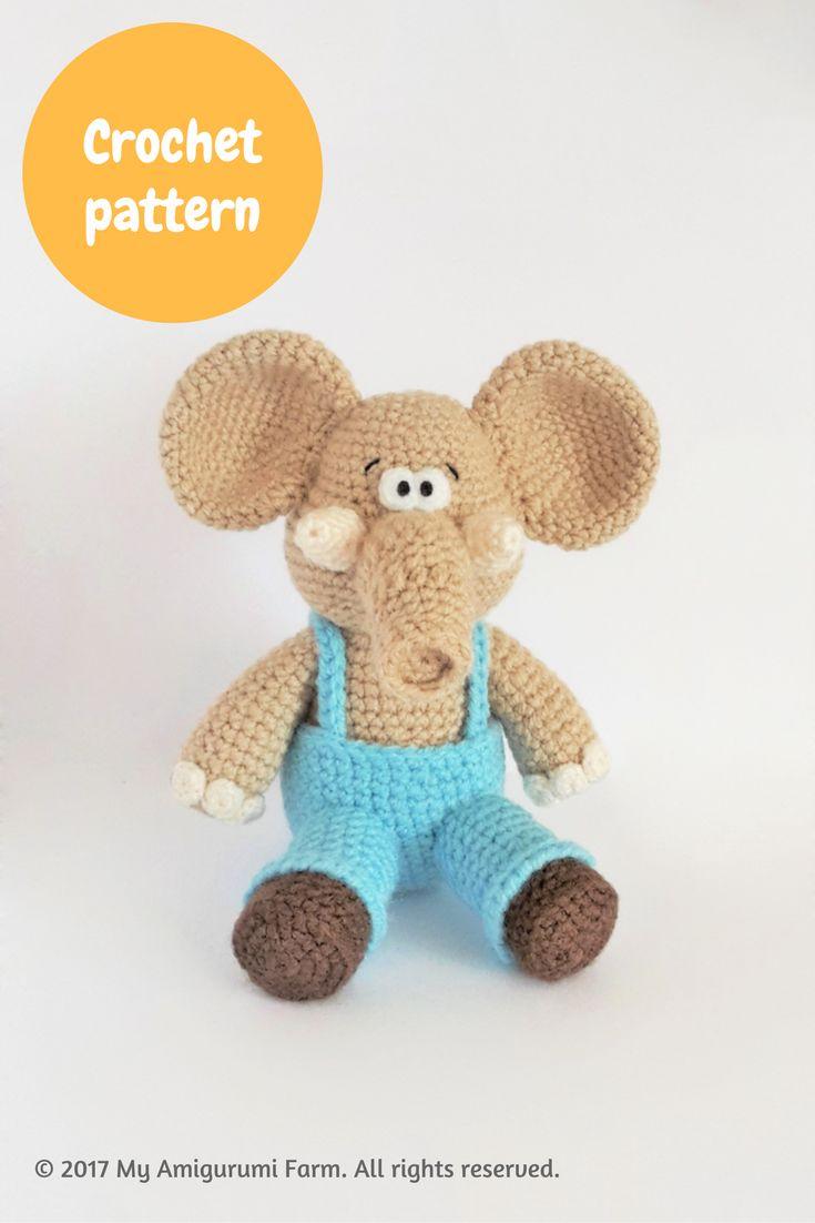 Crochet elephant amigurumi pattern