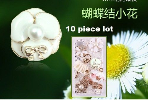 10 piece lot white flower with bow alloy diy bling phone deco etc | chriszcoolstuff - Craft Supplies on ArtFire