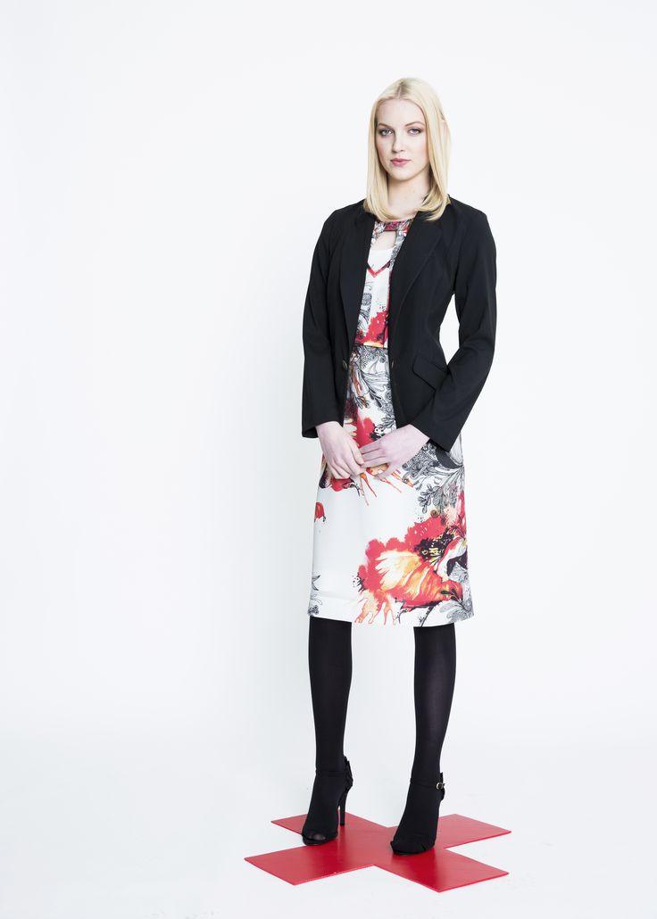 Briefcase Wool Jacket, Fire Bloom Shift Dress