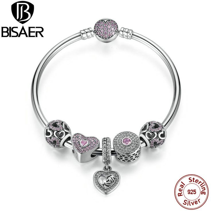 >> Click to Buy << Original 925 Sterling Silver Heart Bangles & Bracelet with Mom Pendant,Pink Sweetheart Bracelet with Charms fit Pan Brand HTB002 #Affiliate