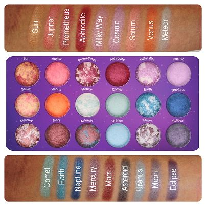 BH Cosmetics' Galaxy Chic Baked Eye shadow Palette swatches....<3