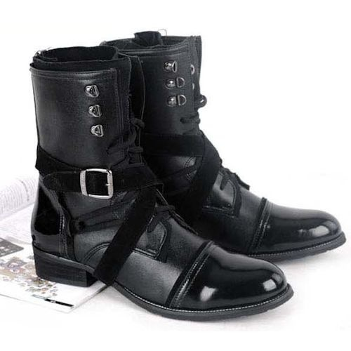 Buy Mens Black Military Gothic Style Fashion Dress Ankle Boots for Less  SKU-1100120