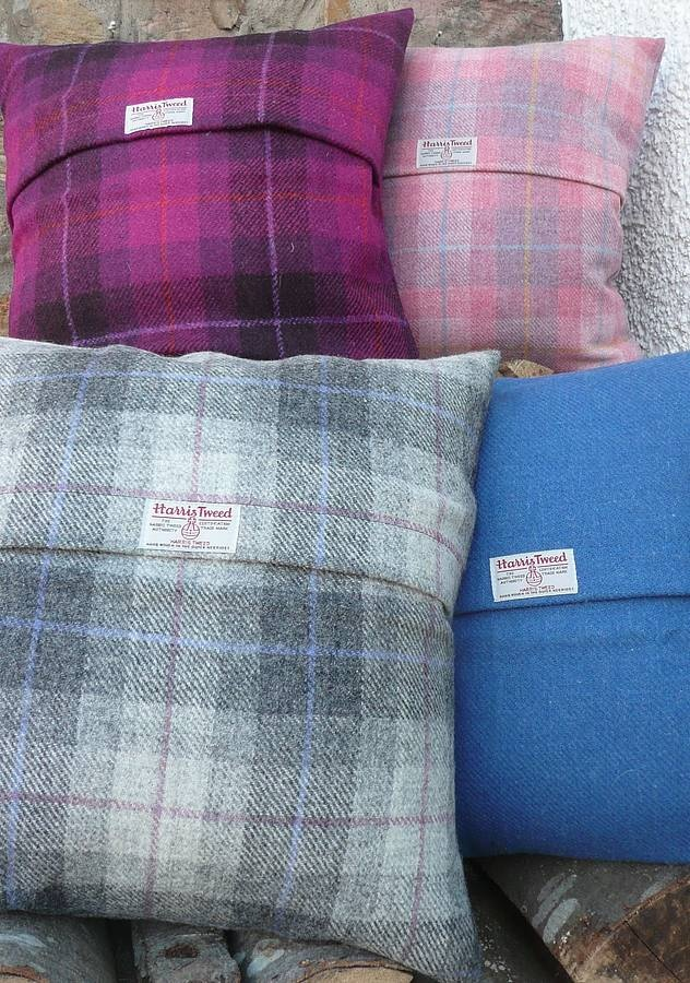 Harris Tweed Check Cushion grey