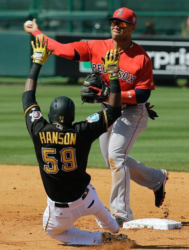 Alen hanson, PIT/ Yoan Moncada, BOS//March 9, 2016 in Bradenton