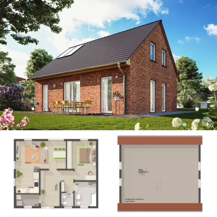 Two Floor House Plans with Gable Roof & Attic Room Modern