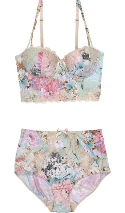 Floral Bustier and High Waisted Underpants - More pastel ideas here: http://mylusciouslife.com/prettiness-luscious-pastel-colours/
