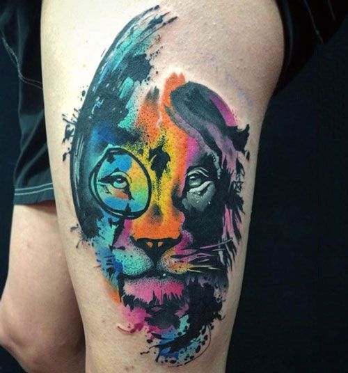1f6a3399b Best Watercolor Tattoos - Colorful Lion | Eye-Catching Tattoos for ...