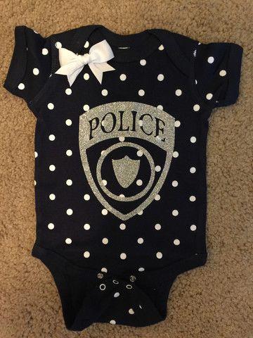Police Onesie - Police Polka Dot Onesie - Police Baby - Glitter Onesie – Ruffles with Love
