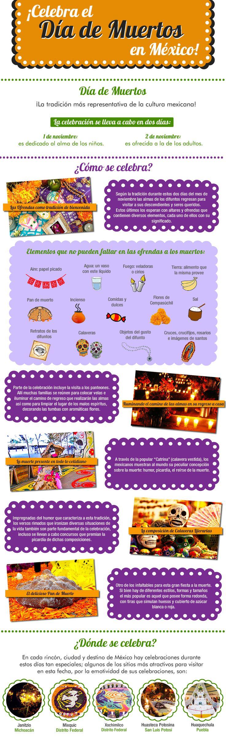 ¡Celebra el #DiadeMuertos en #Mexico! #Altares #Ofrendas #Noviembre #Catrina #Muertos #Calaveras #Celebraciones #Tradicion #Infografia #Infographic Organiza tu estadía en el destino que elijas, desde aquí: http://www.bestday.com.mx/Paquetes/