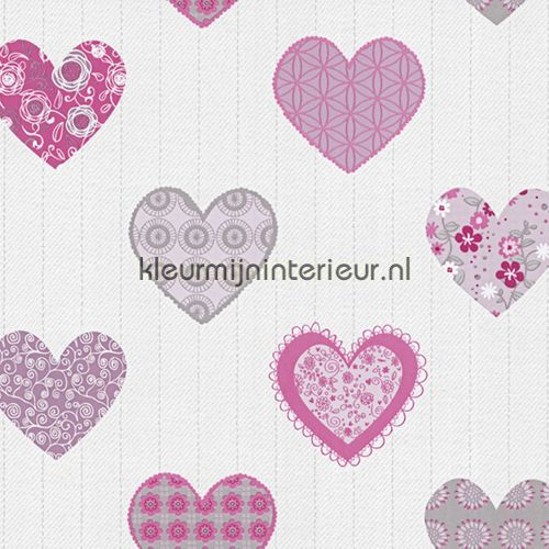 Happy hartjes behang 05583-10, Happy Kids van Dutch Wallcoverings