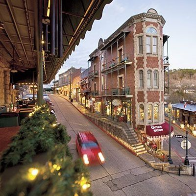 Eureka Springs Arkansas--gorgeous little authentic Victorian town that grew up around mineral springs....still lots of spas and massage places and haunted hotels. It is home to the outdoor passion play and the huge Christ of the Ozarks statue. A great get-away to the Ozark Mountains. And Branson, Missouri is a day trip from here!