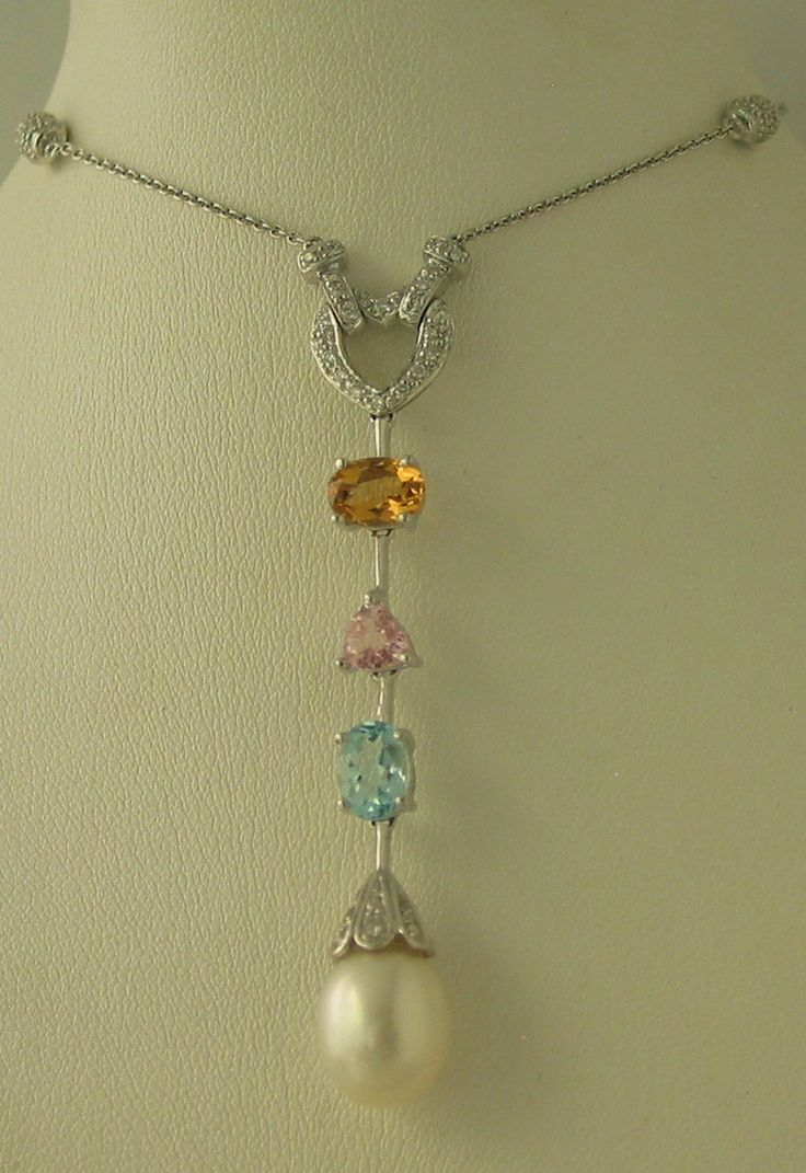 14ct White Gold Diamond, Citrine, Pink Tourmaline, Blue Topaz and Pearl Necklace - $2,250-