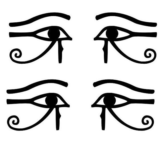 4 for the price! They are 1 1/2 in tall by  1 7/8 in wide. Egyptian Eye of Thoth Horus Ra black vinyl decals by sparrowhawk9, $3.50