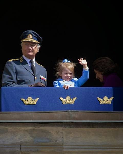 King Carl Gustaf XVI and Princess Estelle are seen during the celebration of the King's birthday at Palace Royale on 30.04.2015 in Stockholm, Sweden.