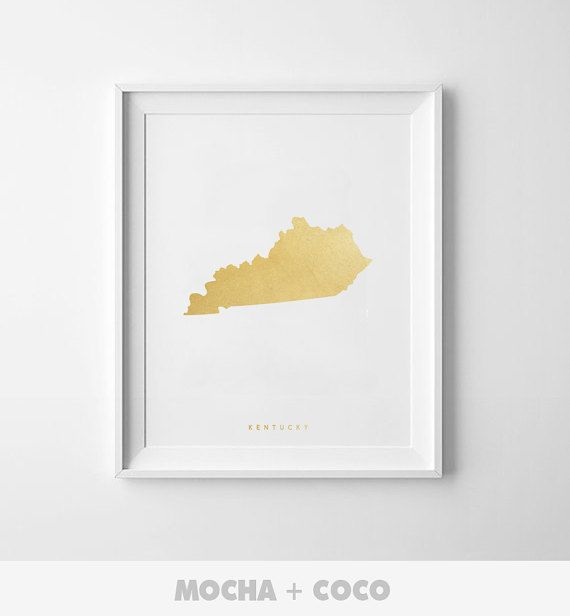 Kentucky Gold Map Print US State PosterState Map by MochaAndCoco