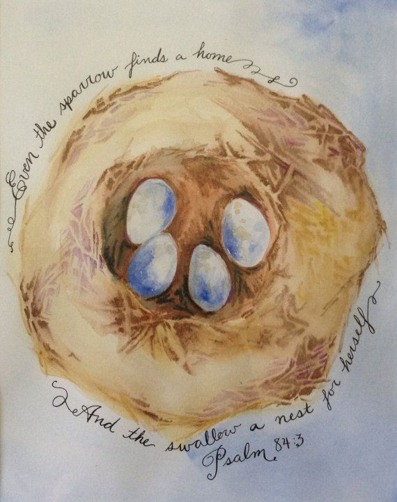 Nesting Psalm 84 Watercolor by AmyCraneArt on Etsy, $20.00