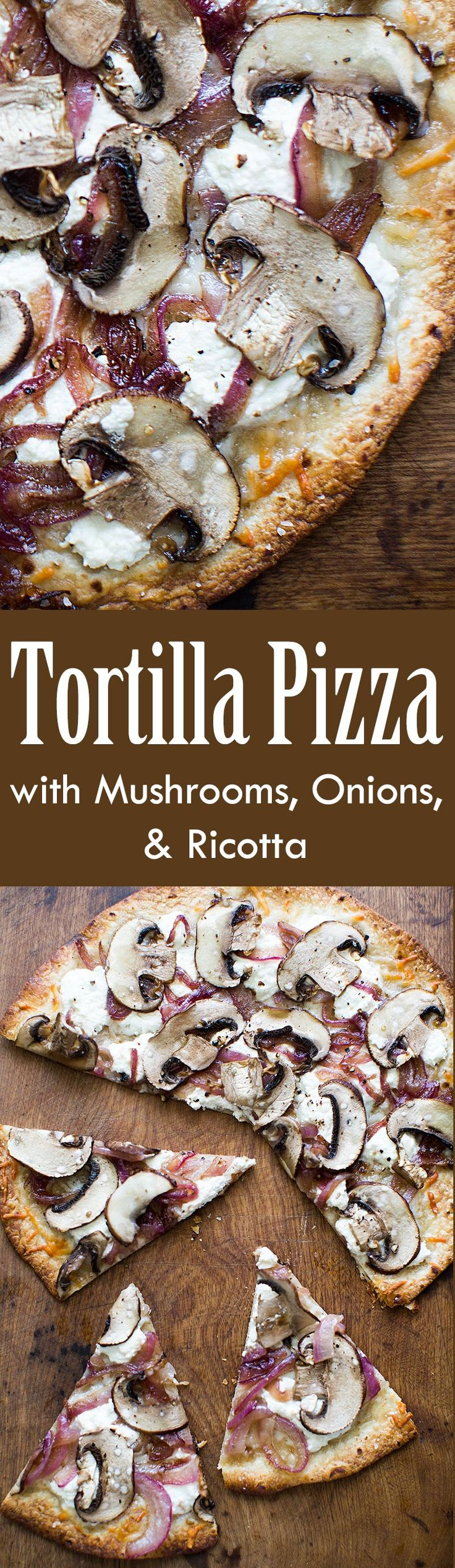 So quick and easy to make thin-crust pizza with flour tortillas! This one is out of this world delicious with caramelized onions, mushrooms, and ricotta. All the pizza goodness with half the carbs! On SimplyRecipes.com