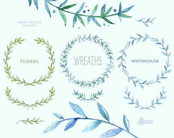 Blumen-Kränze-2. 10 Aquarell digitale Clipart. von OctopusArtis