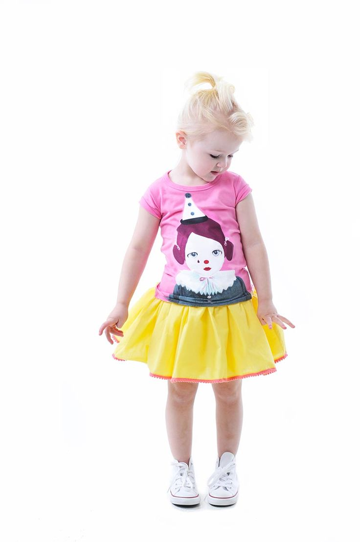 Pierrot Girl tee (Collaboration with Art & Ghosts) and Jump Skirt in yellow | Rock Your Kid summer 14 / 15 |