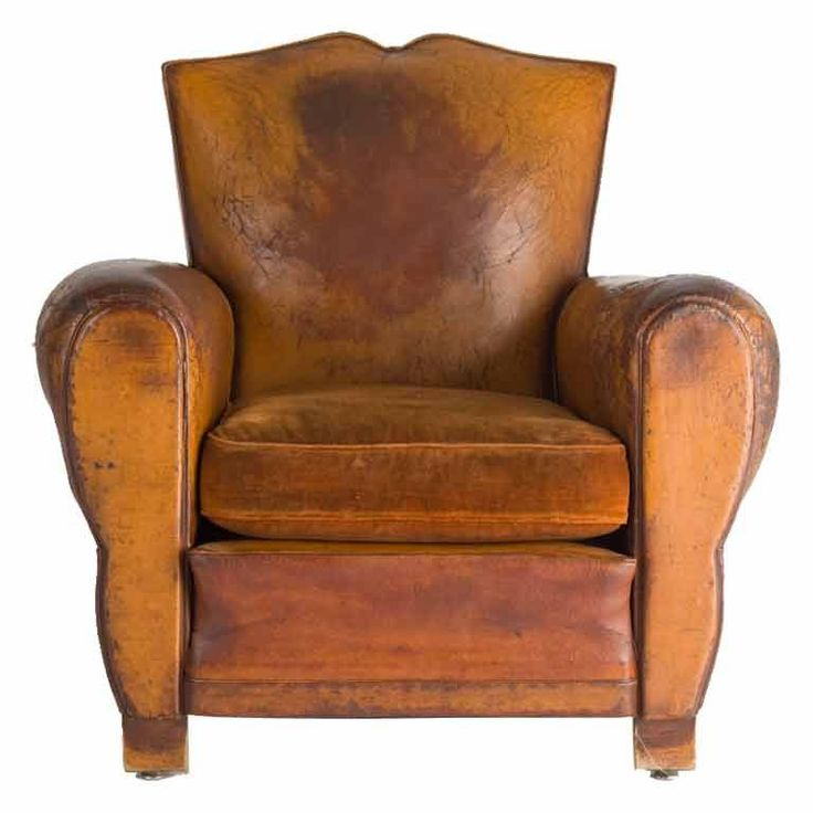 french deco leather club chair
