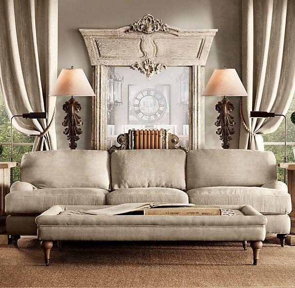 Manor House Whitewashed Mirror. Linen sofa-Neutral Tones