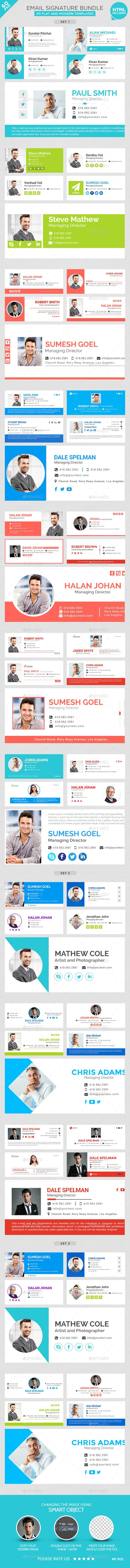 Email Signature Bundle - 60 PSD and 60 HTML Files - Miscellaneous Web Elements