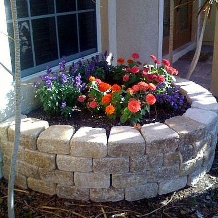 Beautiful Raised Flower Bed Stone Border 31 Stone