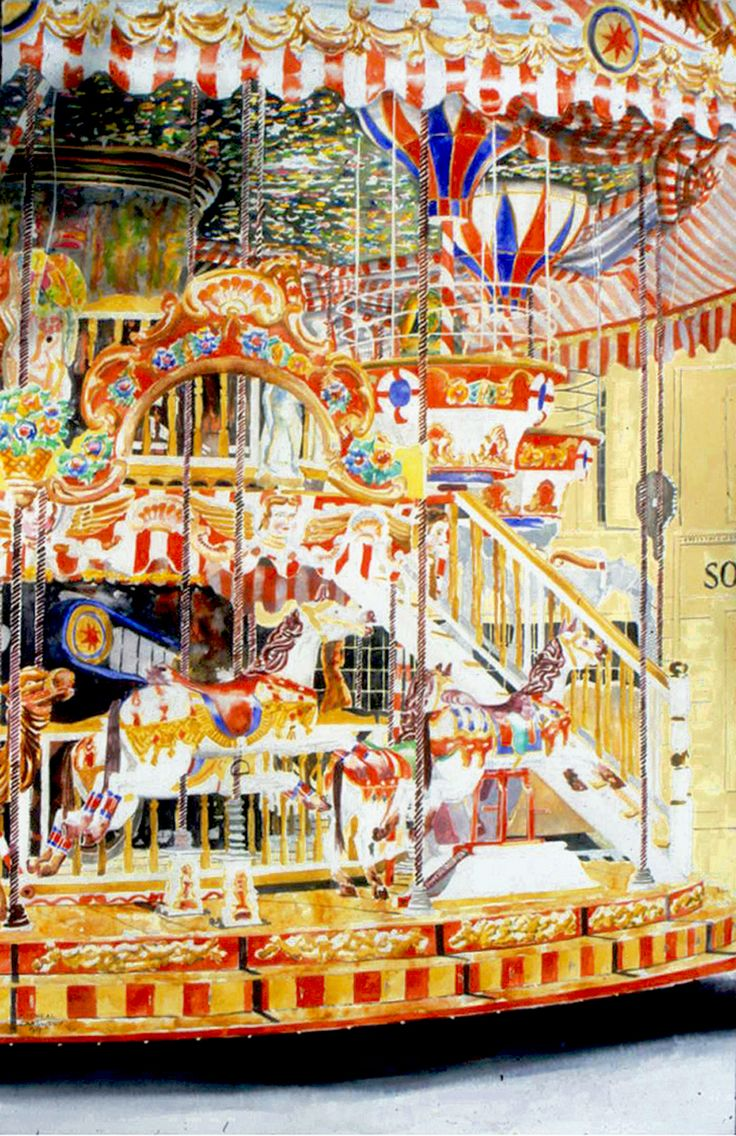 "horses 3 carousel arles 40""  x 26"" micheal zarowsky / watercolour on arches paper / (private collection)"