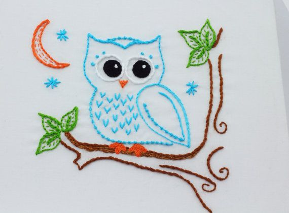 Owl Embroidery Pattern Hand Embroidery Pattern Owls
