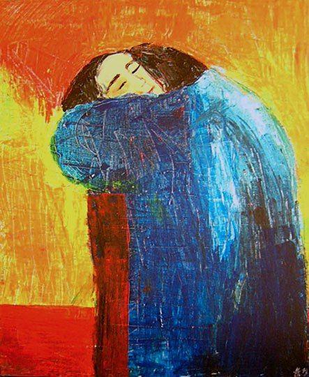 """Titre non défini encore, mais inspirée par """"le baiser"""" de Klimt, 2005, acrylique sur toile 70/50cm- Astrid Genette"""