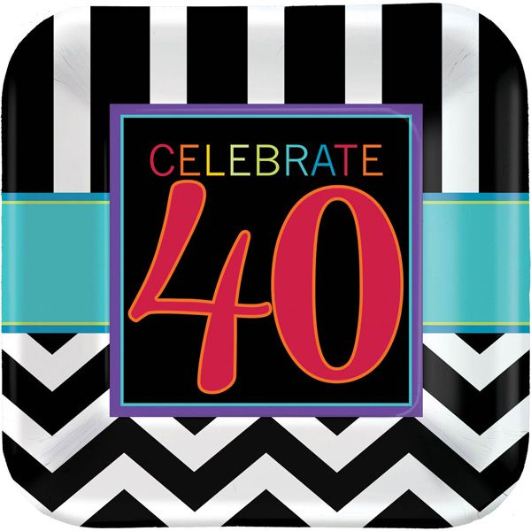Throw an Electrifying 40th Milestone Chevron Celebrations Birthday PartyContemporary patterns and color combinations make the Fortieth Milestone Chevron Celebrations party supplies the perfect choice for both men and women turning forty! Striking black and white zig zag and straight stripes create the perfect backdrop for bright accents and the �CELEBRATE 40� headline featured on all of the tableware and decorations. Adorn your party space with the 40th Milestone Chevron Celebrations…
