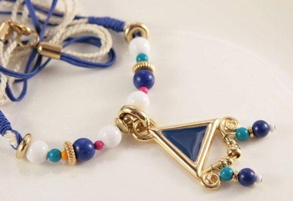 Aztec Necklace Vintage Beach Party Necklace White Blue