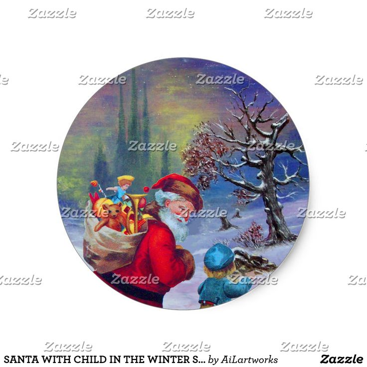 SANTA WITH CHILD IN THE WINTER SNOW CLASSIC ROUND STICKER #xmas #vintage #trees #stickers