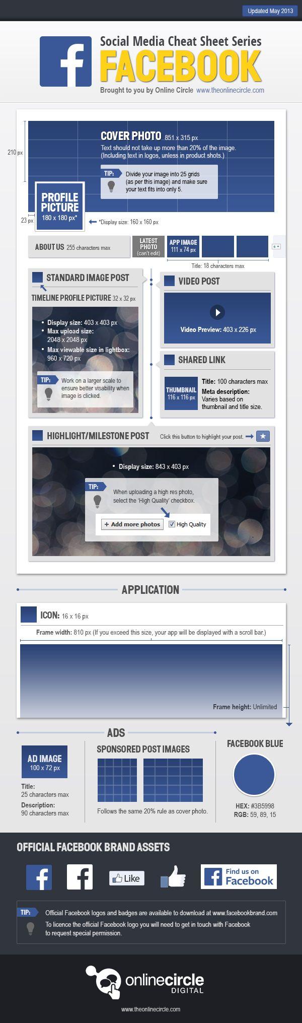 Facebook Cheat Sheet 2013: http://marketingeasy.net/wp-content/uploads/2013/05/OnlineCircle_Infographics_SocialMediaCheatSheets_Facebook_v6.jpg