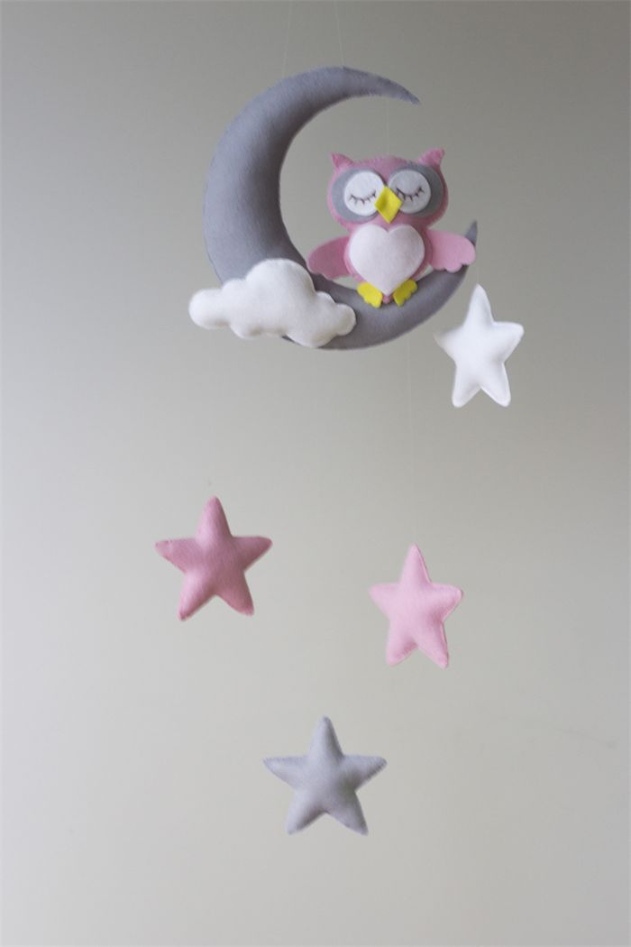 Pink Owl Moon Stars Baby Mobile Nursery Decor Merino Felt.