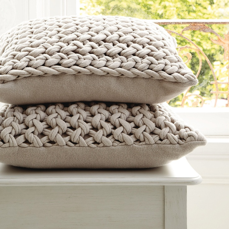 Knit Throw Pillow Cover Pattern : How fun are these?!? Chunky hand-knit pillows Knit - For Home Pinterest Knit pillow, Knits ...