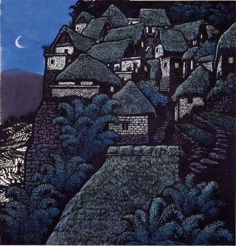 "Shi Yi - ""Moon"", woodblock print"