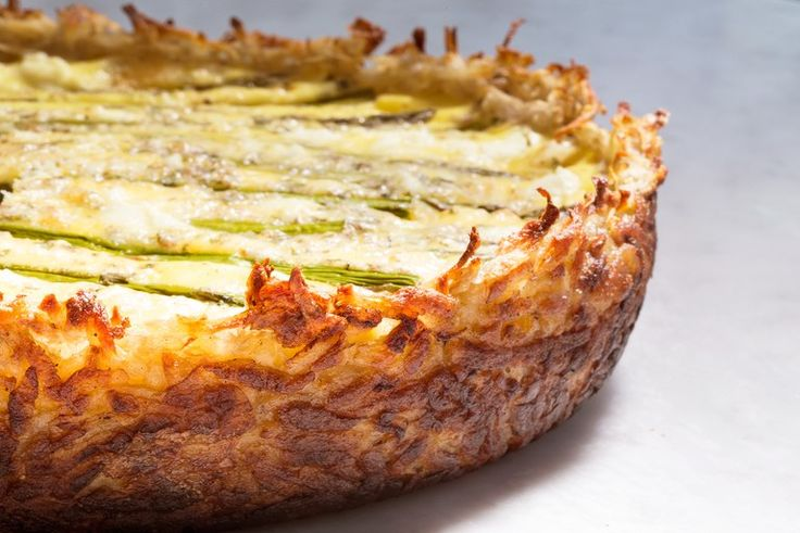 Asparagus and Two-Cheese Quiche with Hash-Brown Crust