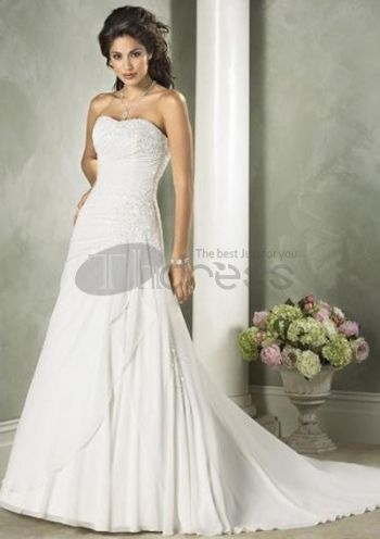 Abiti da Sposa Economici-Con scollo a V piano di lunghezza taffettà tulle abiti da sposa economici