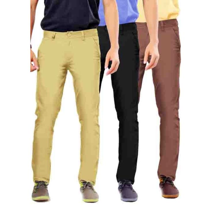 Uber Urban Mens Non Stretch 100% Cotton  Rocky pant Slim Beige::Black::Brown Trouser. See more details at Uberurban.in