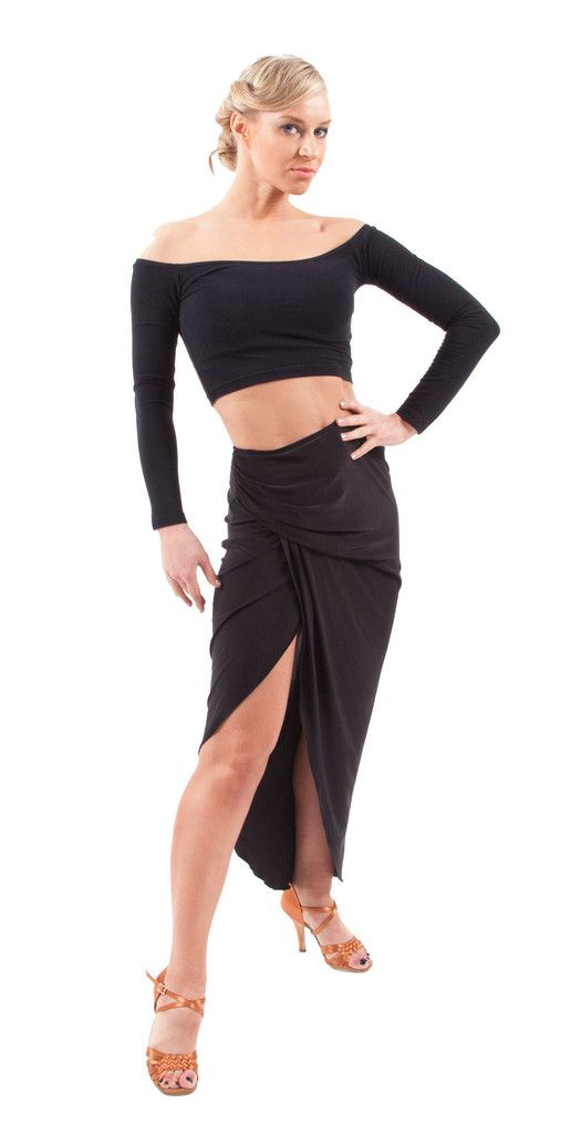 The perfect asymmetrical skirt with side draping flashes just enough leg. Give your ruffled skirt hems a break with a longer draped length. Wear high-waisted or even low on the hips. Accompany with the Sophia Draped Top and you have the perfect outfit.   Perfect for: Argentine Tango, Samba, Rumba and Paso Doble