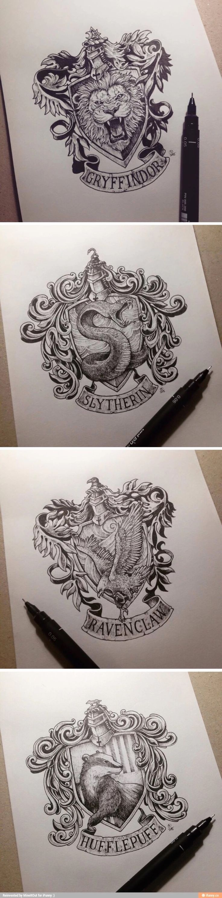 Ink drawings of Gryffindor, Slytherin, Ravenclaw, and Hufflepuff: