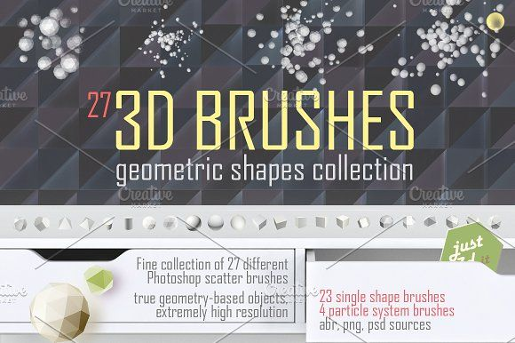 3D brushes for Photoshop by Digithings on @creativemarket