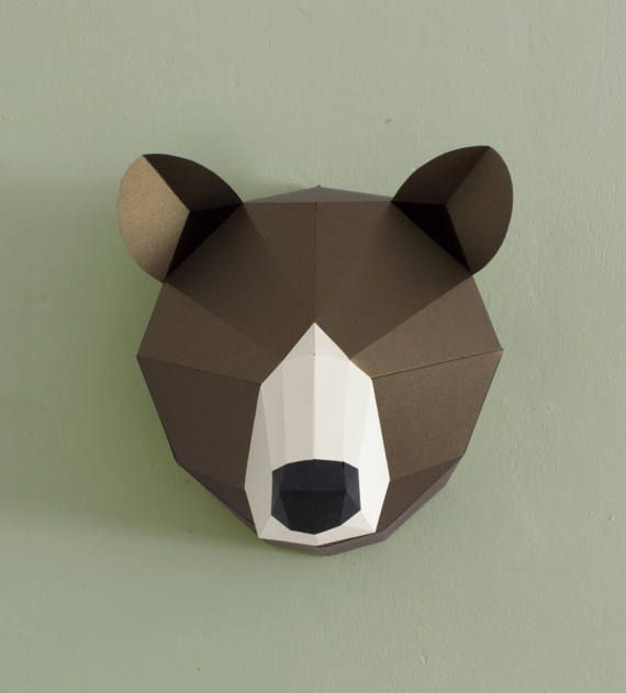 3d Wall Art Papercraft Bear Faux Taxidermy Printable Etsy Paper Animals Wall Hanging Diy 3d Wall Art