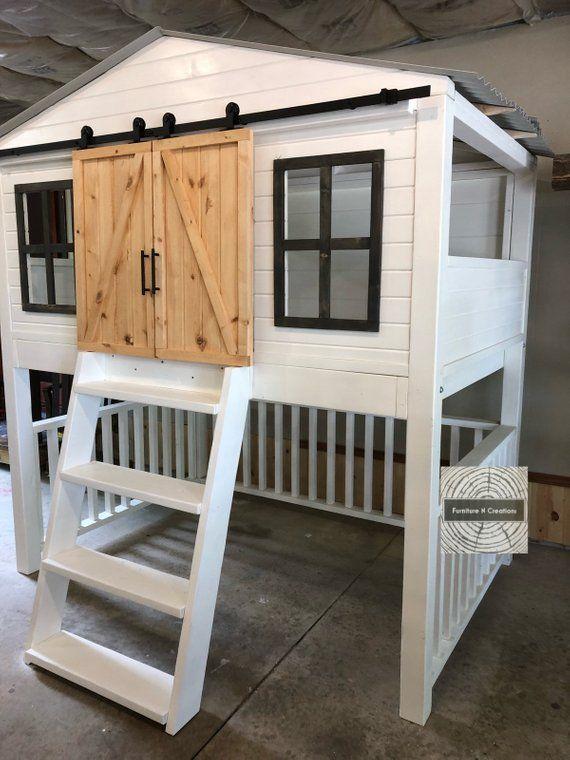 Full Size Farmhouse Barn Door Loft Bed With Stairs Kids Etsy Barn Door Kids Loft Beds Kids Loft