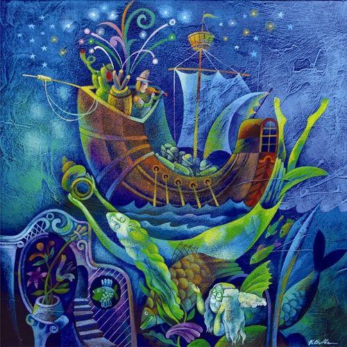 Children's Fairy Tale: The Little Mermaid 2005 Acrylic on cardboard 32X32 (VB12) #art #painting #children www.sunflowers.co.il