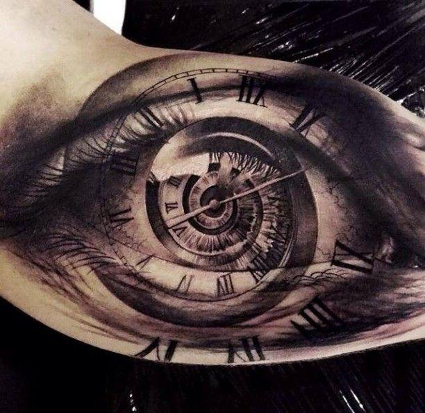 Tattoo Auge Oberarm Black & Grey
