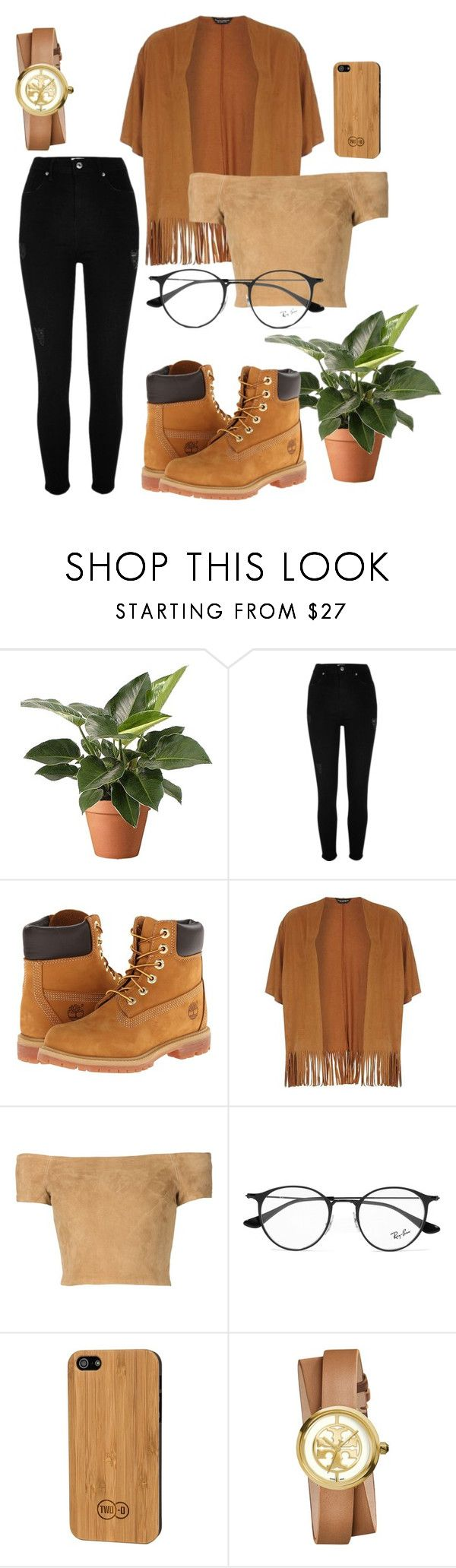 """""""Coffee Girl"""" by capeloise ❤ liked on Polyvore featuring River Island, Timberland, Dorothy Perkins, Alice + Olivia, Ray-Ban, TWO-O and Tory Burch"""