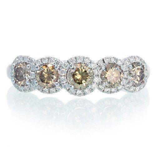 18K Champagne Diamond Five Stone Anniversary Wedding Band Ring by SAMnSUE on Etsy https://www.etsy.com/au/listing/115068537/18k-champagne-diamond-five-stone