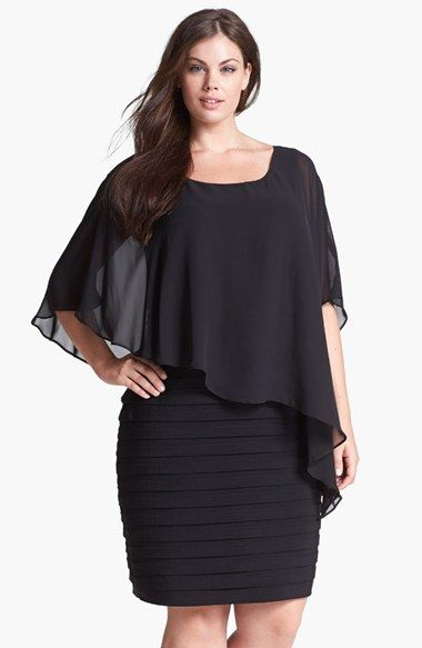 Adrianna+Papell+Chiffon+Overlay+Shutter+Pleat+Sheath+Dress+(Plus+Size)+available+at+#Nordstrom